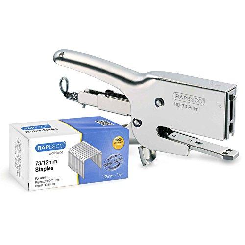 """Rapesco Classic Plier Stapler Set, Includes 73 Plier Stapler and Pack of 2,000 Staples 73 Type 1/2"""" (1306),Chrome"""