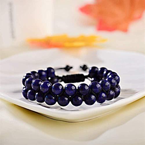 KEEBON Pulsera de piedra, mujer, 7 chakra 8mm perlas de lapis naturales de 8mm ajustable, trenzado, brazalete, joyería, ruego, yoga, Energía, Equipo de Energía, Reiki, Difusor de Charm Ilimitado, rega