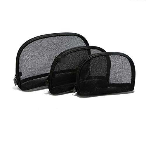 Pinhan Mesh Clear Make Up Bag, Sacs à cosmétiques Transparent Voyage Brosse Pouch Trousse de Toilette, S