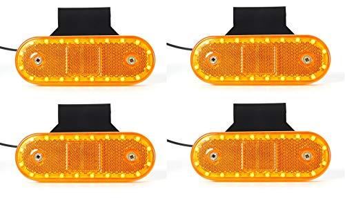 Juego de 4 luces LED de 12 V y 24 V, color ámbar, con reflector para camión, remolque, resistente al polvo y al agua, IP 66/68
