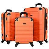 Travel Prime Suitcases Hardside Luggage with Spinner Wheels, Orange, 3-Piece Set (20/24/28)
