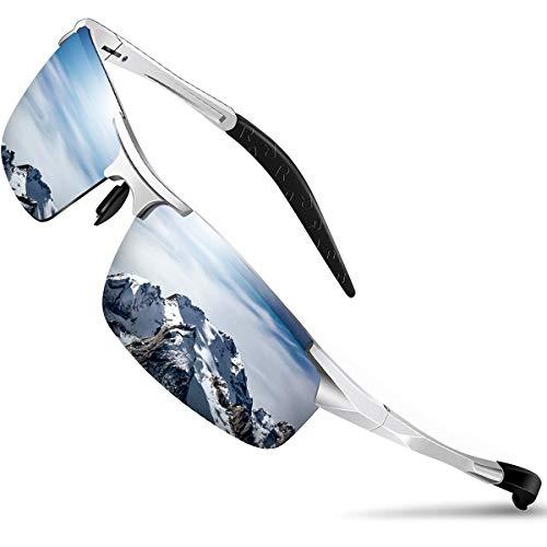 DADA-PRO Sonnenbrille Herren Sportbrille Damen Polarisiert Verspiegelt Retro Fahren Fahrerbrille UV403 Schutz für Autofahren Reisen Golf Party und Freizeit (Silber)