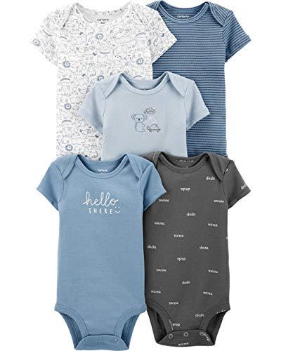 Carter's Baby Boys 5 Pack Bodysuit Set, Animal, Newborn