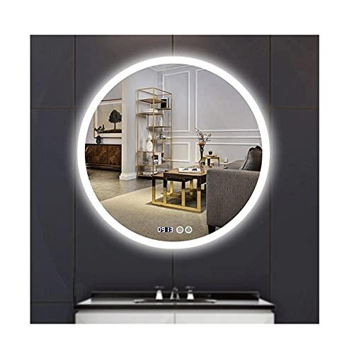 zyy Espejo de Baño for Tocador y Espejo Espejo de Baño con Iluminación LED 60cm Espejo de Pared Grande Espejo de Luz Anti Niebla Espejo Baño Botón táctil (Size : 60cm/23.6inch)