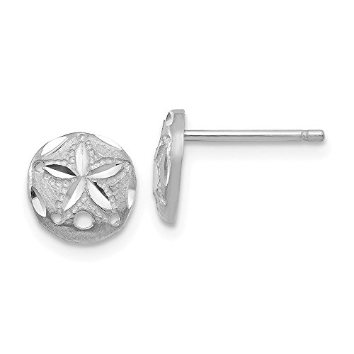 14k White Gold Sand Dollar Sea Star Starfish Post Stud Earrings Ball Button Animal Life Fine Jewelry For Women Gifts For Her