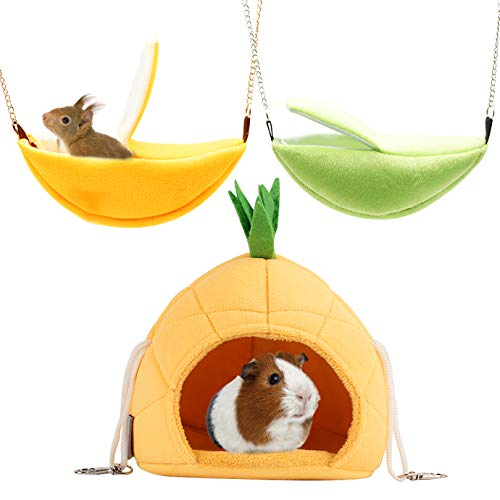 QUACOWW 3 Pack of Hamster Bett,Hamster Hängematte,Hamster Zubehör Hamster Haus Banana & Pineapple Warm Bed Small Pet Animals Hamster Hanging House für Guinea Pig Rat Sleep(Pineapple and Banana)