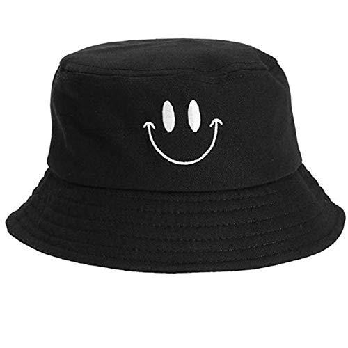 Casual Pescador sombrero de caza de la pesca del sombrero del cubo del casquillo sonrisa encantadora de Protección Solar Cara del sombrero del algodón Hombres Mujeres unisex adultos Pescador Sombrero