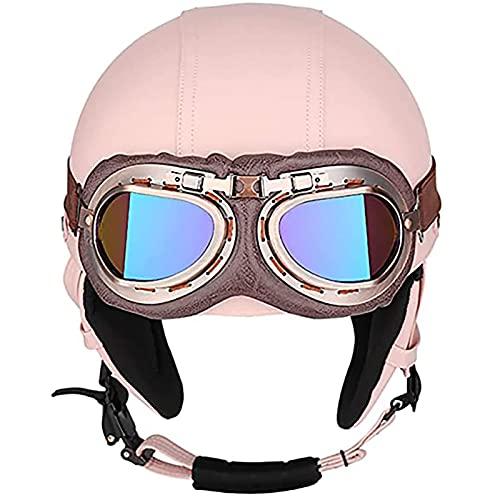 Medio Casco De Motocicleta, con Gafas Casco Vintage Rosa Fresco para Scooter Cruiser Correa De Liberación Rápida Medio Casco para Hombre Mujer Certificación Dot/ECE
