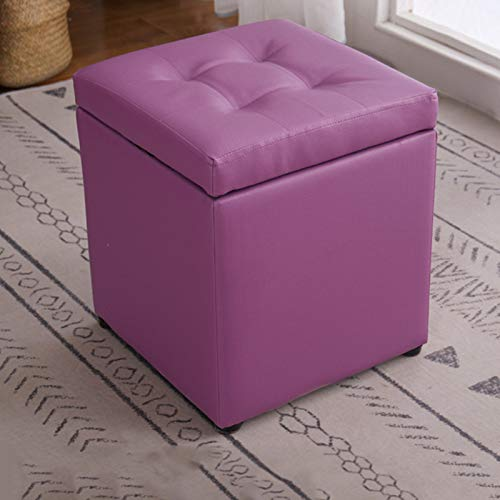 GIAO Storage Ottoman Folding Storage Footstool, Faux Leather Cube Foot Rest Stool, Storage Chest with Highly Elastic Sponge Filling,Blue, 35 X 30 X 30 cm Storage Ottoman Footrest