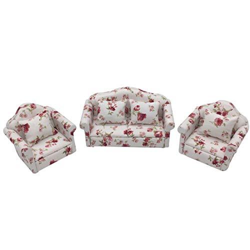 Yiifunglong Dollhouse - Juego de cojines para sofá de 1/12 muñecas con flores frescas