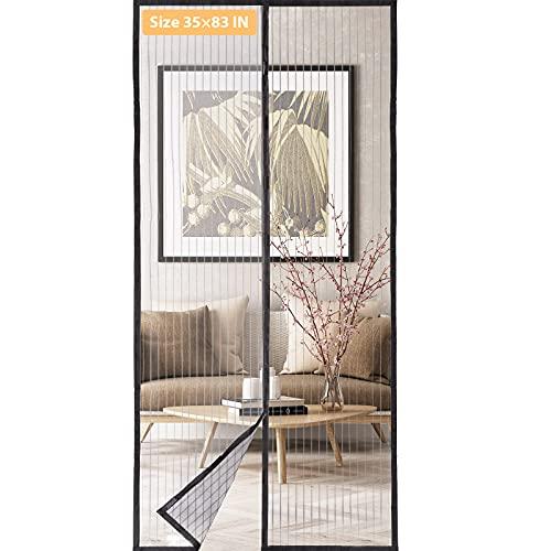 "Magnetic Screen Door, Upgraded Door Screen Magnetic Closure, Self Sealing, Fits Doors Size up to 35"" x 83"" Magnetic Curtain"