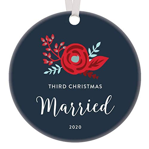 Lplpol Third Wedding Anniversary 2020 Collectible Christmas Ornament Three Years Happily Married, Ceramic Christmas Tree Hanging Decoration Keepsake, Xmas Ideal, Round, 3 Inch, RE2018