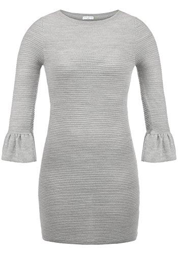 ONLY Rike Damen Strickkleid Feinstrickkleid Kleid Mit Rundhals Und Volant-Ärmeln, Größe:L, Farbe:Light Grey Melange