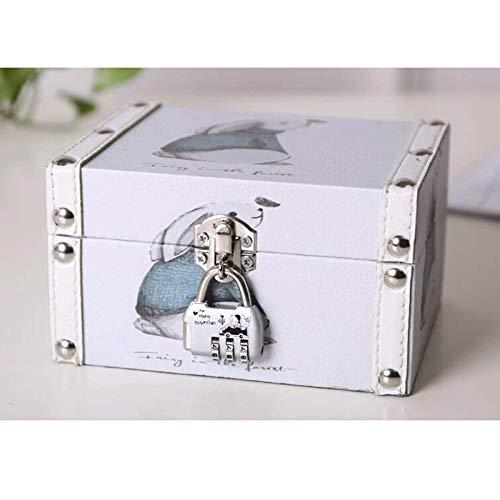 XBSXP Caja de Almacenamiento de joyería Vintage, Caja de Almacenamiento de Cuero, con Cerradura de Metal, Caja de Almacenamiento para Necesidades diarias, Adecuada para aretes, Collar, a