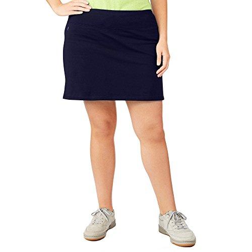 Danskin Now Women's Plus Size Adjustable Waist Hidden Pocket Basic Knit Skort (4X Plus, Navy Blue)