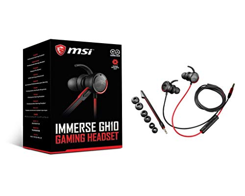 MSI Immerse GH10 Earset - Stereo - Mini-Phone - Wired - 16 Ohm - 20 Hz - 20 kHz - Gold Plated - Earbud - Binaural - in-Ear - Omni-Directional Microphone