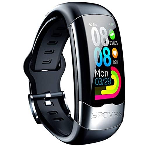 HYLK & reg;Pulsera de Fitness con frecuencia cardíaca, IP67, rastreador de Actividad a Prueba de Agua con podómetro, Monitor de sueño, Contador de calorías, para niños, Mujeres, Hombres, Negro
