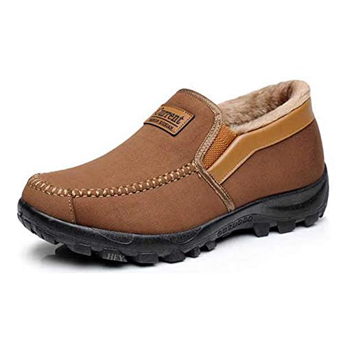 Men's Moccasins Slippers Slip,on Plush Loafers Warm Fur Lined Walking Driving Shoes Indoor Outdoor Short Boot Winter Snow Boots,Brown,7.5 US,25 cm Heel to Toe
