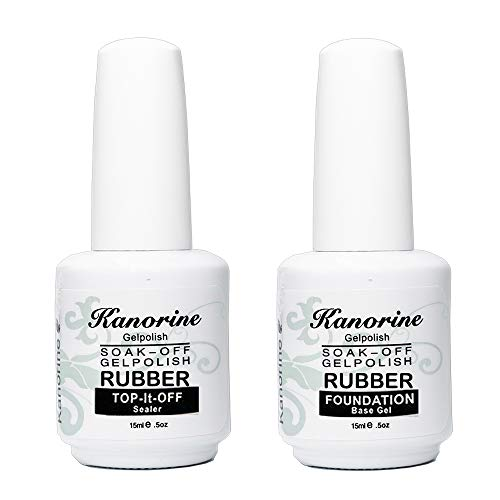 Kanorine® Rubber Base Coat & Rubber Top Coat Set UV/LED Soak-Off no-wipe Gel Nail Polish Varnish Manicure 15mlx2(0.5oz x2) (Top&Base)