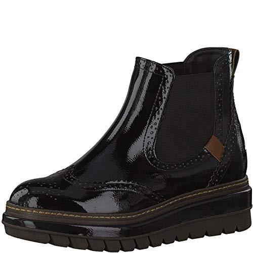 Tamaris Damen Stiefeletten Chelsea Boots Plateau 1-25448-25, Größe:42 EU, Farbe:Schwarz