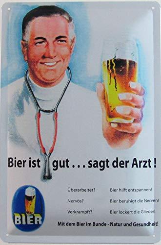 Blechschild 20x30cm gewölbt Bier ist gut, SAGT der Arzt Retro Deko Geschenk Schild