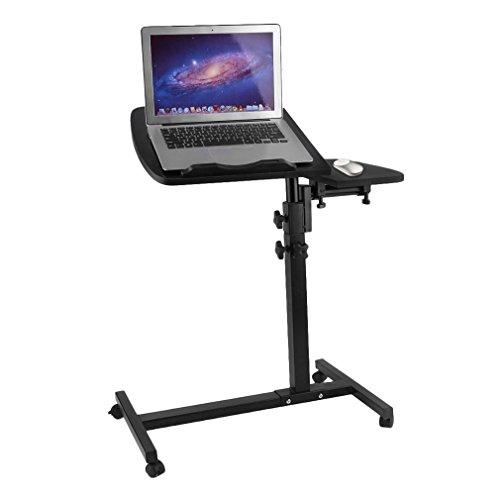 TataYang Laptoptisch Rolltisch Betttisch Notebooktisch Beistelltisch höhenverstellbar Ständer für Linkshänder Sofatisch mit Rollen und drehbar Ablage für Maus mit 2 Stopp-Leisten, Holz (Schwarz 1)