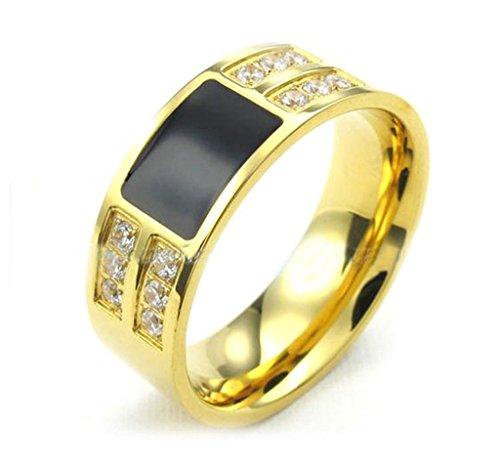 Aooaz In acciaio inox 18k dorato nero Kristsall Culster bianco Zirconia uomo per dimensione maschile fidanzamento Natale
