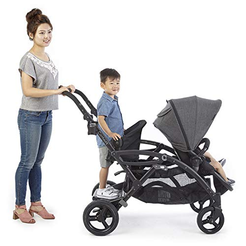 Contours Options Elite Tandem Double Toddler & Baby Stroller, Adjustable Seating, Lightweight Frame, Car Seat Compatibility, Carbon Grey