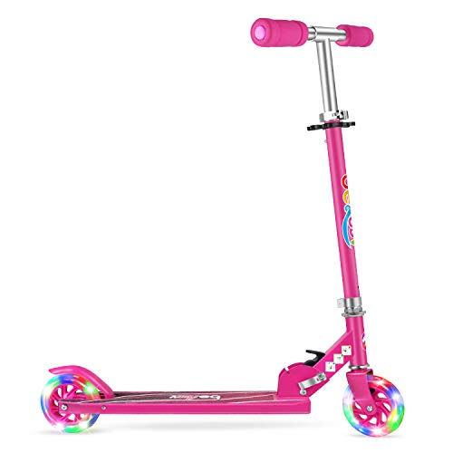 Beleev Folding Kick Scooter for Kids 2 Wheel Scooter for Girls Boys, 3 Adjustable Height, Light Up Wheels for Children 4 Years and up (Hot Pink)