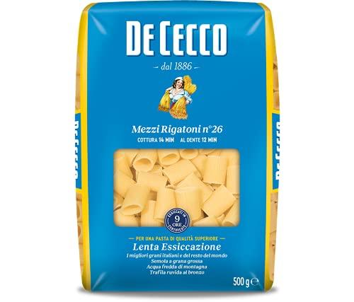 De Cecco Mezzi Rigatoni N° 26 Pasta di Semola di Grano Duro, 500g