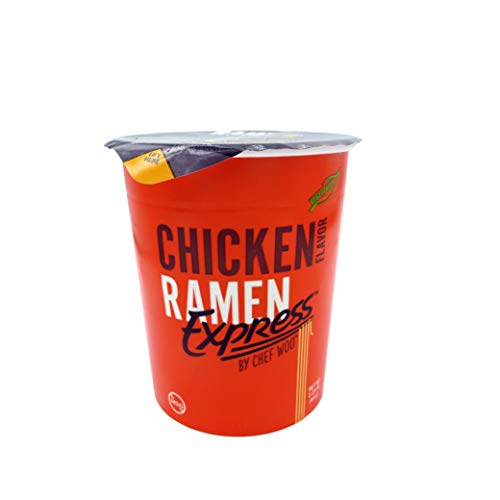 RAMEN EXPRESS Chicken Flavor Ramen Cup Noodle, 2.25 Oz Each (Pack Of 12) by Chef Woo | Vegetarian | Kosher | Halal | Egg-Free and Dairy-Free