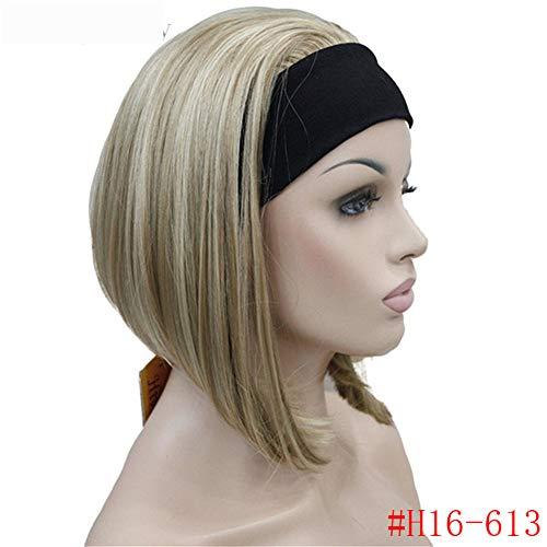 Perücke Haarteile Damen 3/4 Perücke Mit Stirnband Gerade Synthetik Capless Volles Haar Frauen Perücke, G