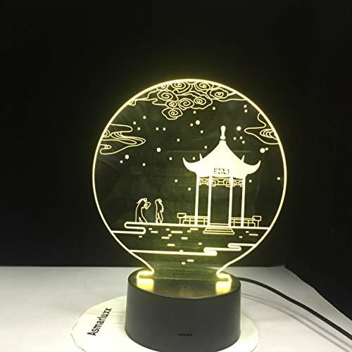 Antike Pavillon 3D LED Lampe Tischlampe 7 Farben Ändern Schreibtischlampe Neuheit Led Nachtlichter...