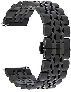 سوار ساعة يد من الستانليس ستيل لسوار سامسونج جير S3 - أسود