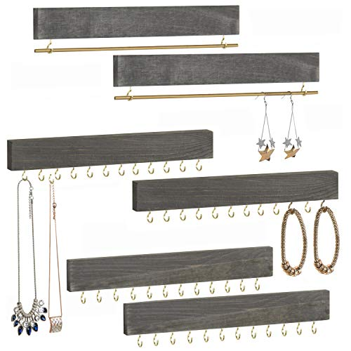 MyGift Weathered Gray Wood 6-Piece Wall-Mounted Jewelry Organizer, Bracelet and Necklace Holder Rack Set
