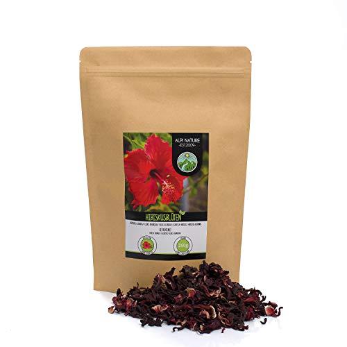 Hibiskusblüten Tee (250g), Hibiskus ganze Blüten, Hibiskusblütentee schonend getrocknet, 100% rein und naturbelassen zur Zubereitung von Hibiskustee