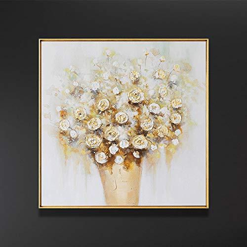 Handgemalte Leinwand Bilder,Hand Ölgemälde Auf Leinwand Reproduktion Abstrakter Moderner Golden Blumenstrauß In Vase Zeichnung Home Office Einrichtung Keine Gerahmten Gezeichnet,80 × 80 Cm Rahme