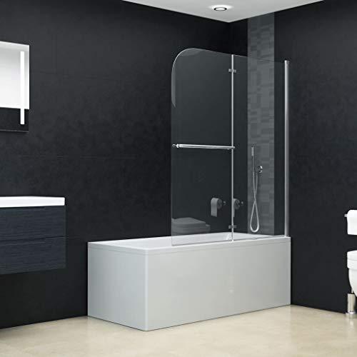 vidaXL Duschkabine 2 Paneele Duschwand Faltwand Duschabtrennung Badewannenfaltwand Badewannenaufsatz Badewanne ESG 6 mm Sicherheitsglas 95x140 cm Faltbar