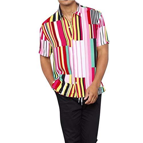 Yowablo Shirt Hemd Herren Freizeit männer Business Casual Kurzärmliges unregelmäßiges mehrfarbiges gestreiftes Button-down-T-Shirt (L,2Mehrfarbig)