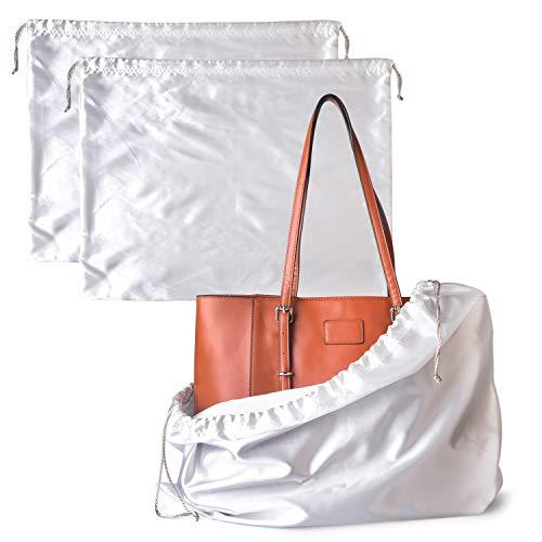 BlesMaller 2 Stück Schuhtasche Kordelzugbeutel, Aufbewahrungsbeutel Aufbewahrungstasche aus Seide für Handtasche, Geldbörse, Taschenbücher, Schuhe, Stiefel - Weiß(60 * 50cm)