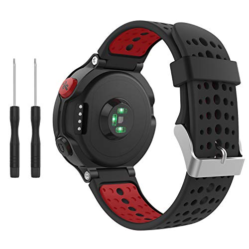 kitway Compatible con Forerunner 235 Correa de Reloj, Banda de Reemplazo Silicona Suave Sports Pulsera para Forerunner 235/220/230/620/630/735XT Smart Watch (Negro+Rojo)