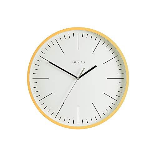 JONES CLOCKS, Spartacus, Reloj de Pared Redondo Diseño Minimalista con una Caja de Colores para la Cocina del hogar Comedor Sala de Estar u Oficina 30cm (Amarillo)