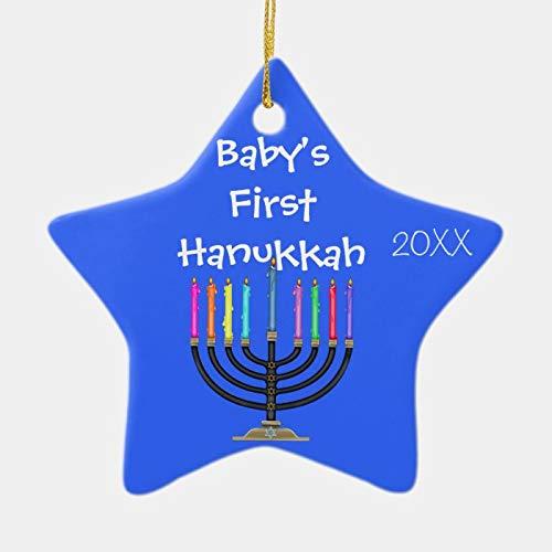 wendana Shaped Baby's First Hanukkah Ornament,Star Porcelain Christmas Ornaments,Christmas Tree Decoration Ornaments,2020 Quarantine Gifts,Keepsake Ornaments,for Kids