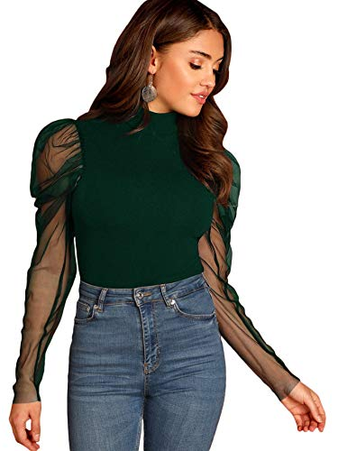Romwe Women's Mesh Puff Sleeve High Neck Slim Fit Party Blouse Top Green Small
