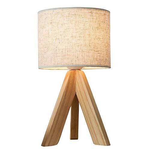 lampara de lectura Dormitorio de estilo japonés lámpara de mesa sólida de tela cubierta de madera del LED con el interruptor de botón E27 lámpara de escritorio de madera del trípode for la lámpara de