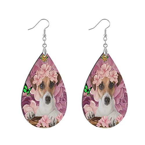 Wood Jewelry Russell Terrier - Pendientes colgantes de madera con forma de lágrima para mujeres y niñas