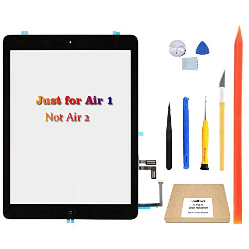 GoodFixer Digitizer Touch Screen Replacement for iPad Air 1st Generation (Black), with Home Button, Complete Repair Tools Kit, Camera Holder, Pre-Installed Adhesive Stickers [365 Days Warr]