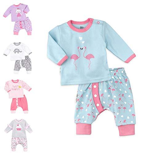 Baby Sweets 2er Baby-Set mit Hose & Shirt für Mädchen/Baby-Erstausstattung in Rosa-Türkis mit Flamingo-Motiv/Baby-Kleidung aus Baumwolle für Neugeborene & Kleinkinder/Größe: 3 Monate (62)