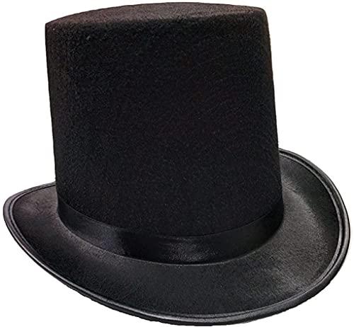 Sombrero de Copa de Colore Negro, Gorro de Fieltro Satn, Chistera Mago Hombre con Cinta de Raso para Disfraces Cosplay Carnaval Halloween (Negro, Talla nica)