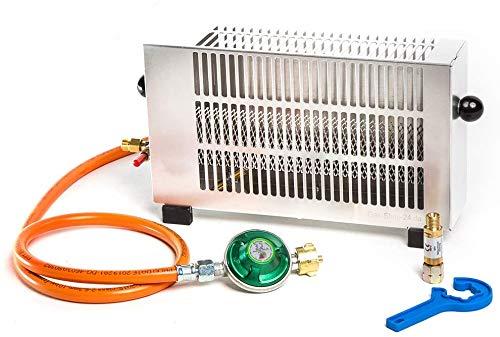 1,7 kW Zeltheizung mit Zündsicherung/Mini Gasheizung Aluminium mit Gasschlauch, Druckminderer + Schlauchbruchsicherung (Angler Heizung, Campingheizung, Outdoorheizung, Outdoor, Camping, Zelt)